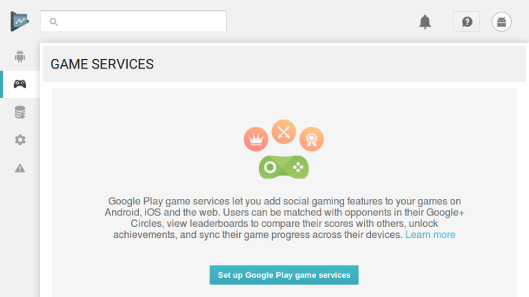 Game services screen