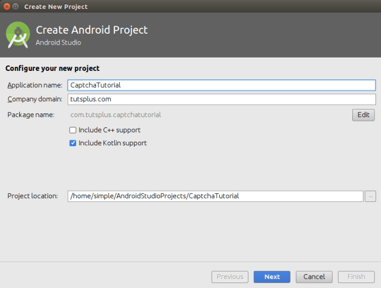Configure your new project form