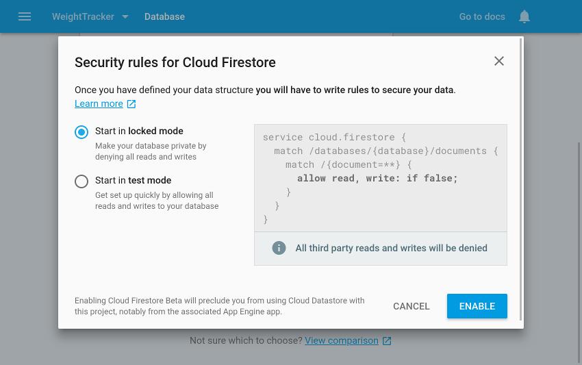 Security mode selection screen