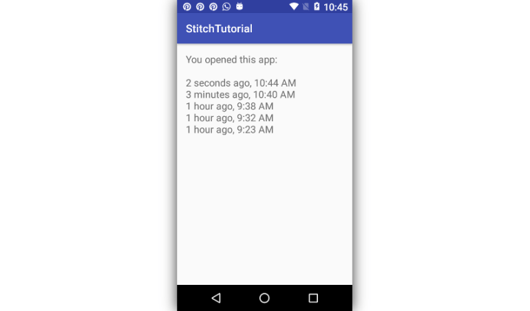App displaying list of timestamps