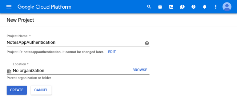 Google project creation form