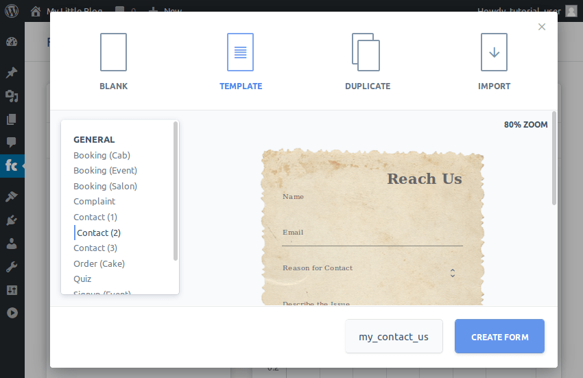 Creating a form from a template