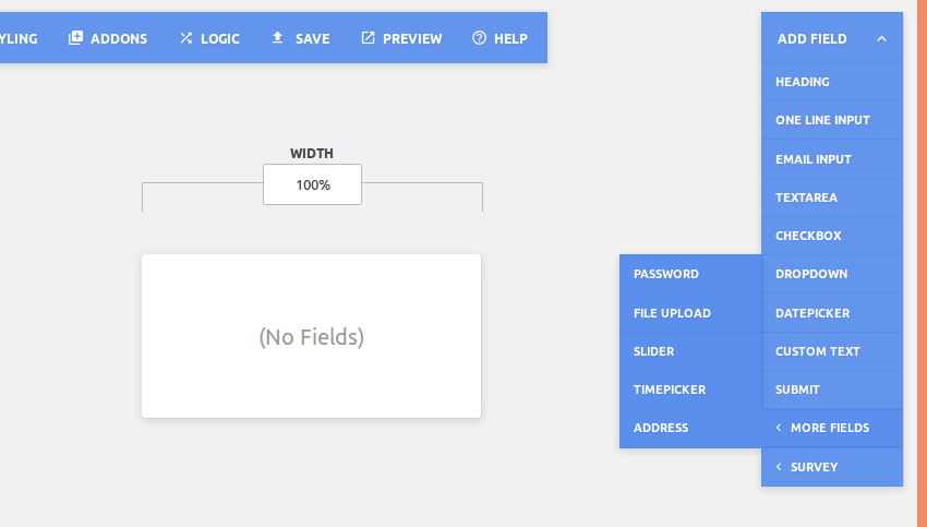 Types of fields available
