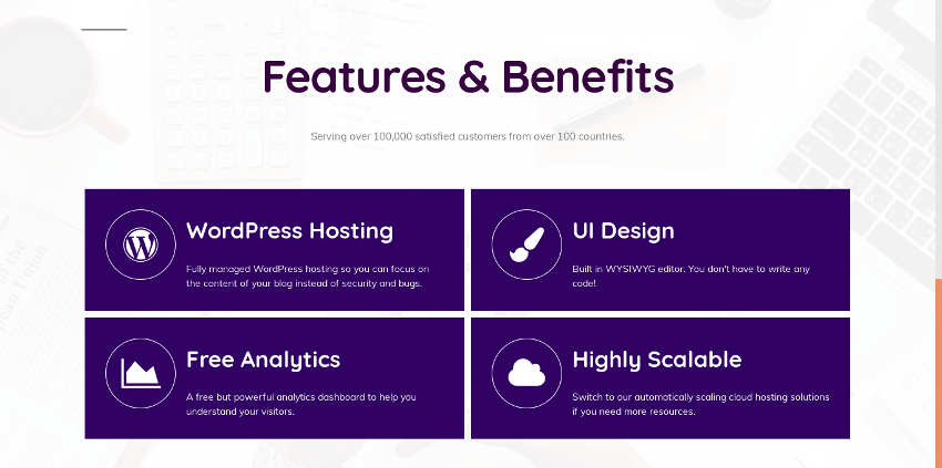 Completed features and benefits block
