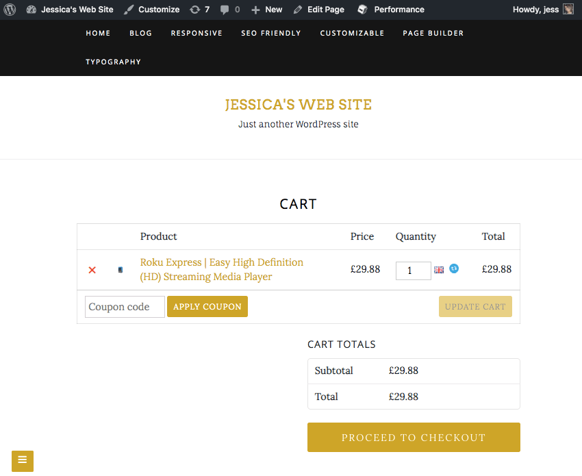 Selecting Proceed to checkout will take you to the main Amazon website