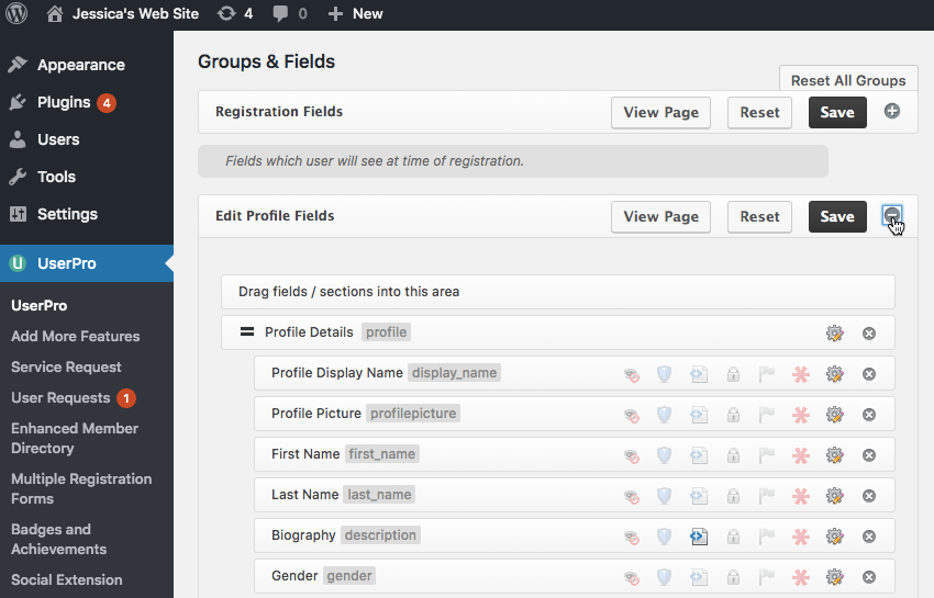 You can edit the fields that appear as part of UserPros Edit profile page