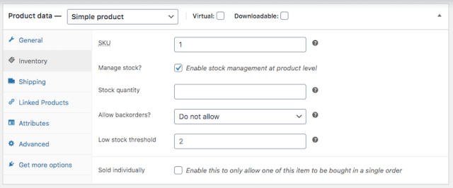 Find the Manage stock checkbox and click to select