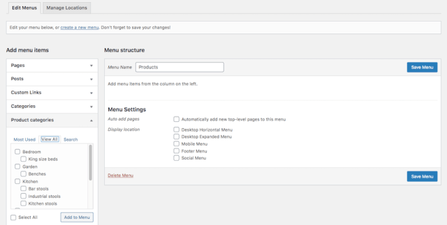 You can add product categories to your WordPress dropdown menu