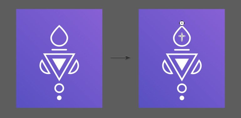 Add a cross and circle to complete the final Bishop Icon