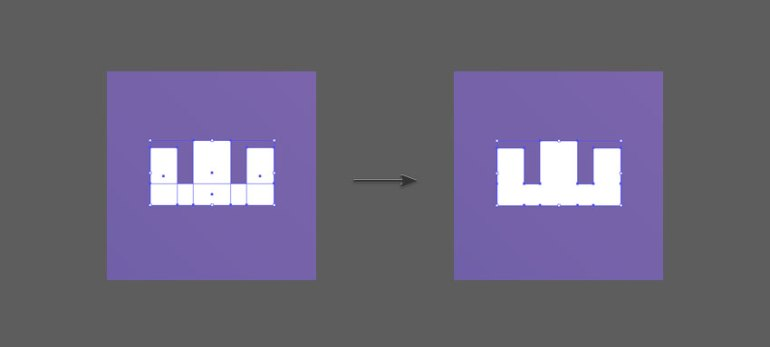 The Unite button will merge the shapes together