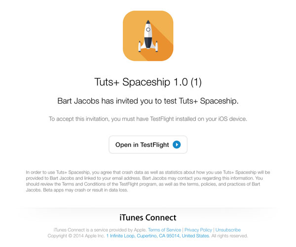 By Tapping The Open In Testflight On You Accept Invitation This Opens Application Giving Option To And Install
