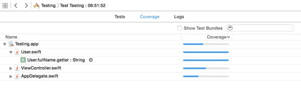 Code coverage in Xcode 7