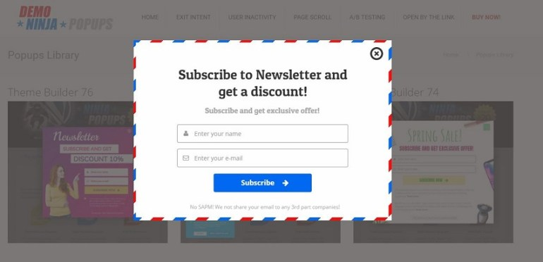 Ninja subscription popup