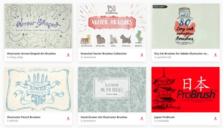 Illustrator brushes available on Envato Elements