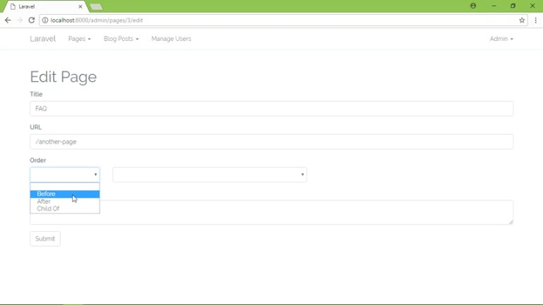 Screenshot of the Laravel CMS you will create