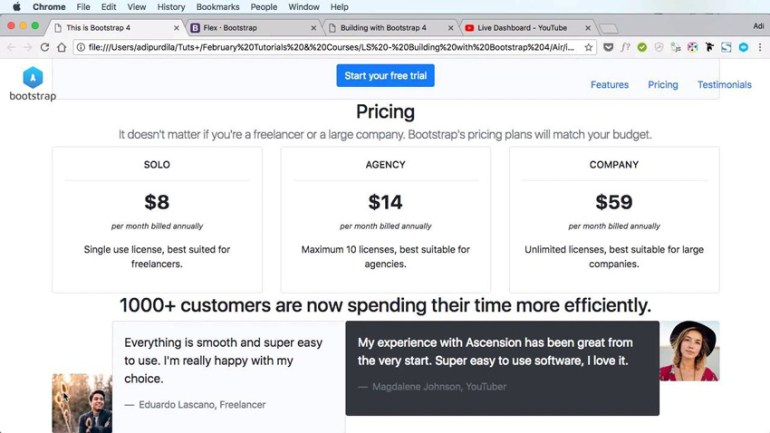 Landing page built in Bootstrap 4