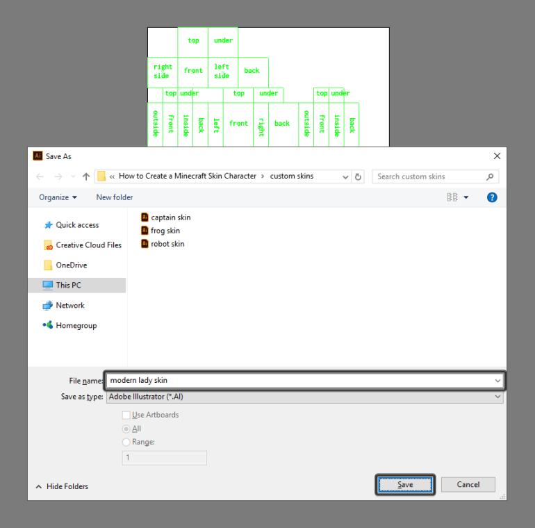 saving the default template as a custom skin