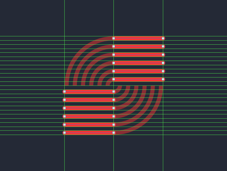 adding the horizontal lines to the inner section of the larger circle