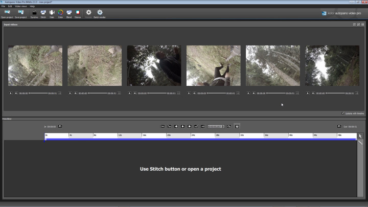 Import your clips into Autopano Video Pro