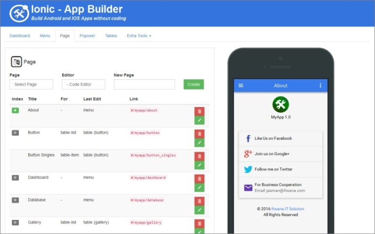Ionic Mobile App Builder