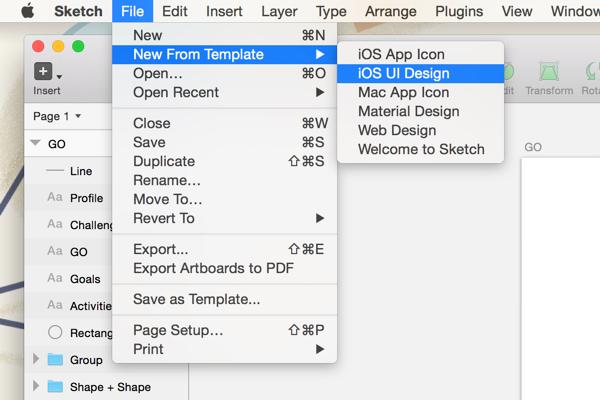 Using iOS UI Design template