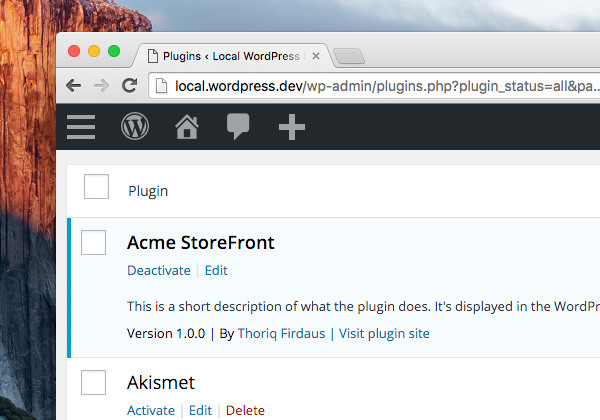WordPress local website installed by VVV viewed in Chrome