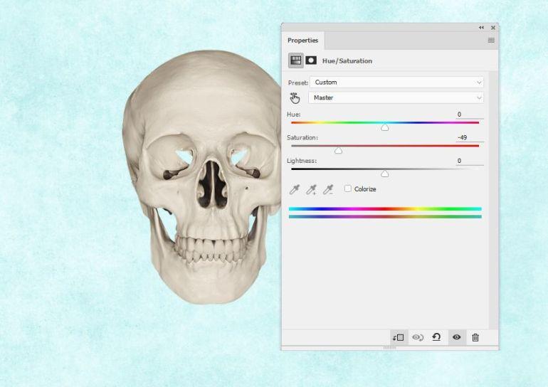 skull hue saturation
