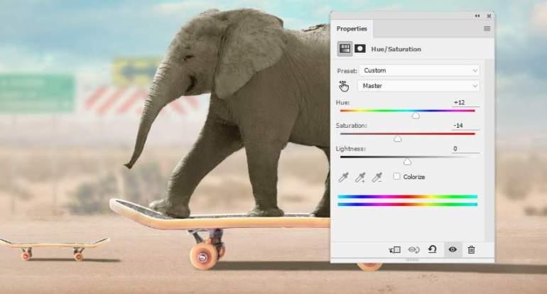 elephant hue saturation