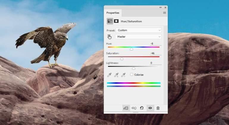 Photoshop Adjustment Layers  -  hawk 1 hue sauration