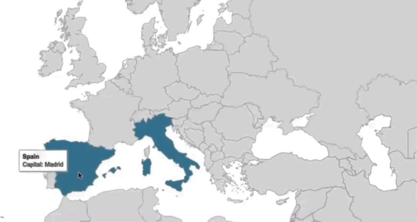 An interactive map of Europe