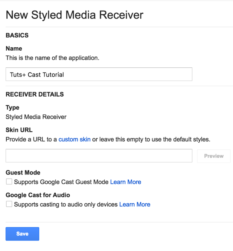 Setup options for a new styled media receiver