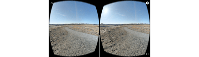 Our panoramic image in the view inside of a VR viewer