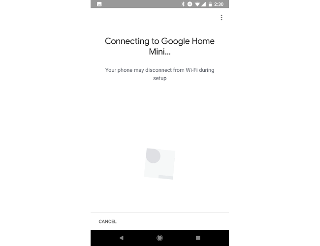 Google Home companion app connection screen