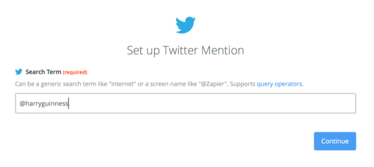 setting up the mention in Zapier