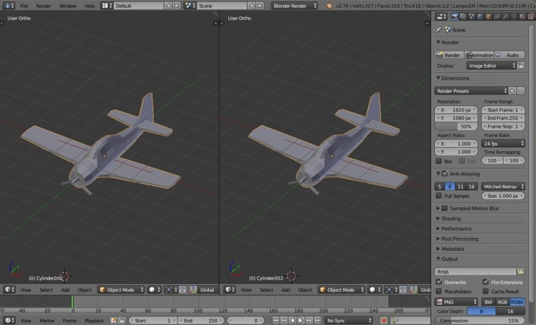 Split 3D viewport into two