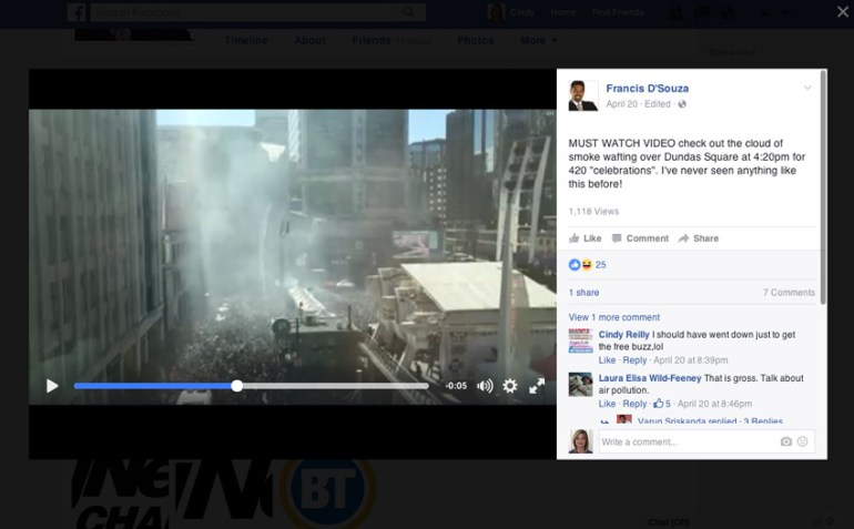 Screen capture of Facebook video by Francis DSouza
