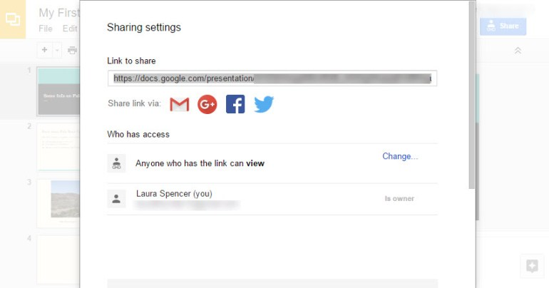 Google Slides sharing settings