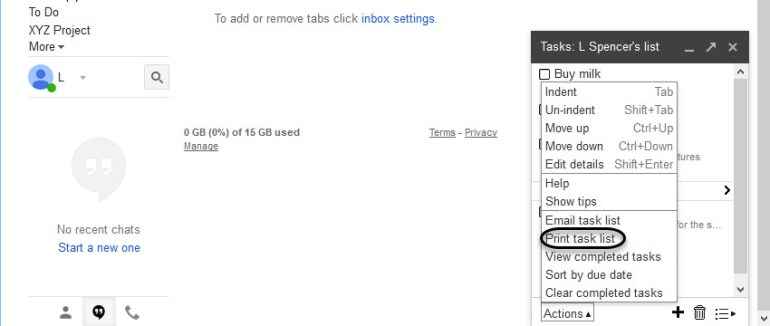 Print task list option