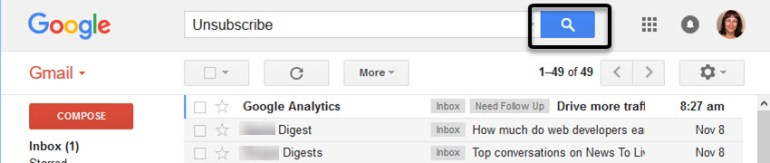 Search Gmail to find email subscriptions