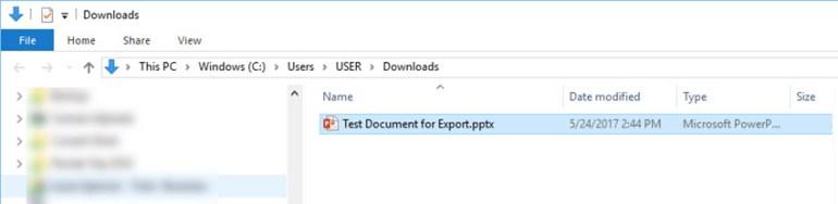 Google Slides conversion file in folder