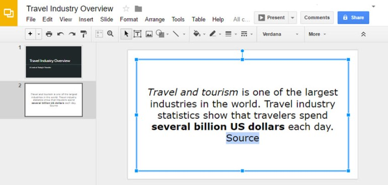 Highlighted Google Slide Text