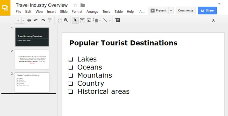 Google Slide with Check Boxes list
