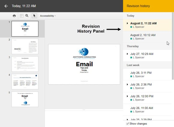 Panel riwayat Revisi Google Slides