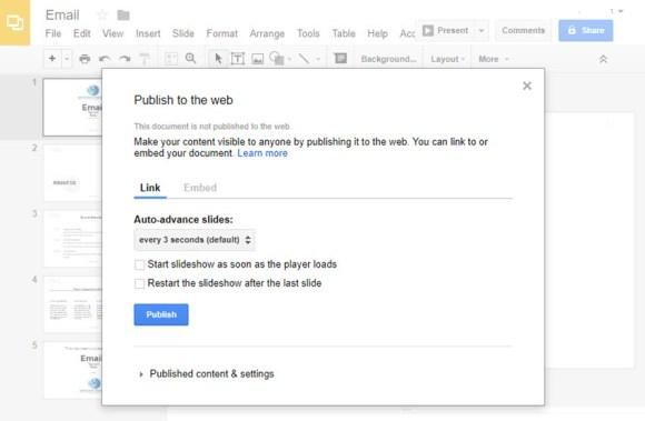 Terbitkan ke kotak dialog web di Google Slides