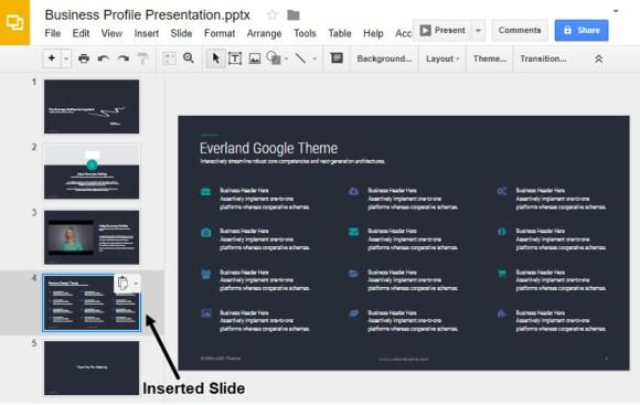 Salinan slide yang disisipkan ke presentasi Google Slides