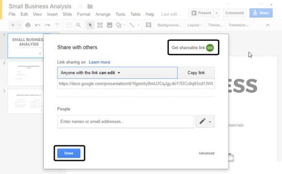 Google Slides tautan yang dapat dibagikan