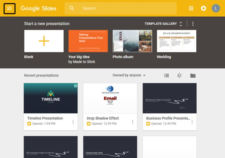 Google Slides Home Screen