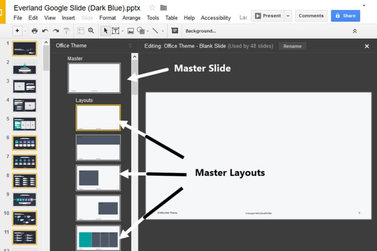 Google Slides Master Slides Tool