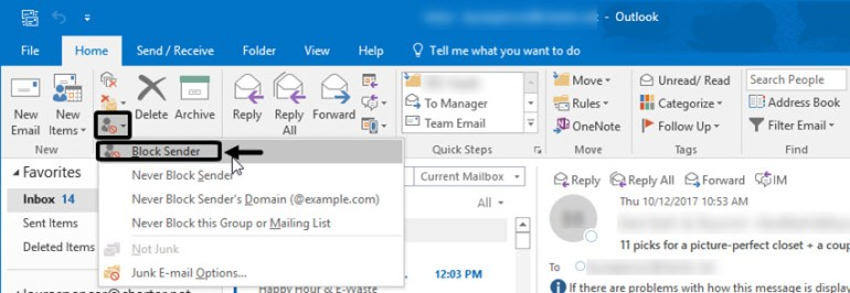 Block Sender Option in Outlook