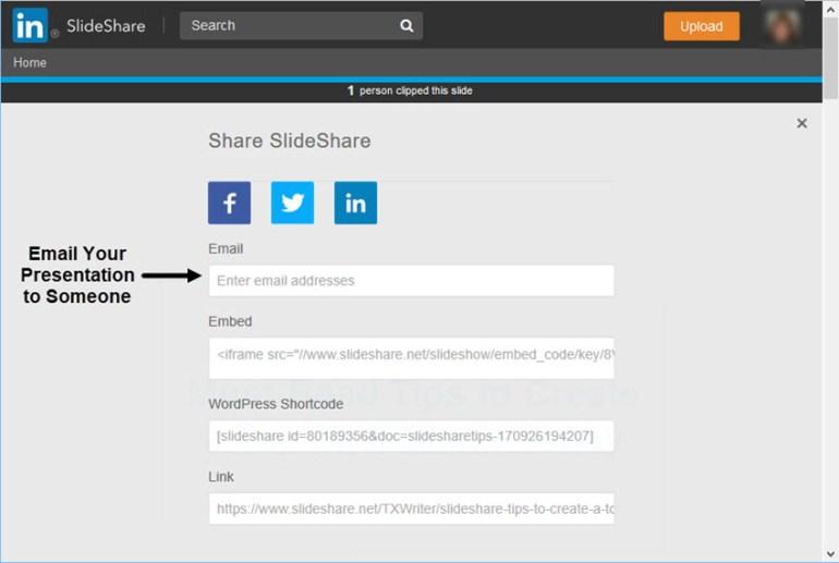SlideShare Email Sharing